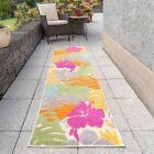 Multicoloured Palm Print Rug Outdoor Tropical Garden Washable Summer Runner Mats