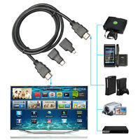 3in1 1080P HD High Speed HDMI To Mini Micro HDMI Adapter Cable for PC TV Phone