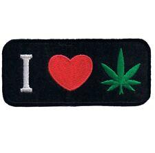 "Weed Patch - I Love Cannabis, Pot, Marijuana, CBD, THC Badge 3-3/8"" (Iron on)"