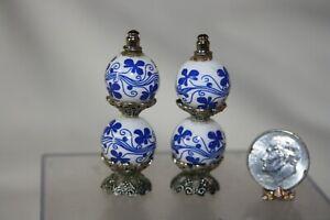 Miniature Dollhouse Pair Blue White Porcelain Gone w The Wind Lamps Artisan 1:12
