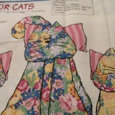 Daisy Kingdom cotton fabric panel floral Parlor Cats stuffed animal mom & kitten