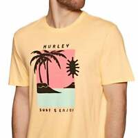 Hurley Premium Men's Sz M Good Times Surf & EnjoyCrew neck T-Shirt Light Orange