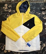 NWT Nautica Color Blocked Windbreaker Hooded Jacket Blue Yellow 2XL Retail $119
