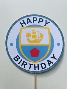 Happy Birthday Manchester Man City Themed Cake Topper Football Glitter