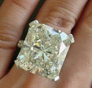 White Sim Radiant cut Diamond Engagement Ring White Gold Plated Cocktail Jewelry