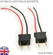 2x H7 MALE Wired Socket For Bulb Holders LED HID XENON 12v Fog Lights Head light