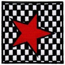 be68 Roter Stern Aufnäher Applikation Bügelbild Schwarz Weiße karierte Flagge
