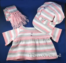 Build-A-Bear PINK STRIPPED KNIT SWEATER DRESS, SCARF, HAT WINTER Teddy Clothes