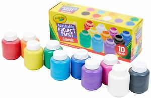 Crayola Washable Kids Paint Set, 2oz Bottles, 10 Count, Assorted CLASSIC COLORS