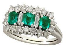 Vintage Italian Emerald & 1.02ct Diamond 18k White Gold Cluster Ring
