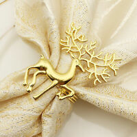 6Pcs Napkin Rings Holders Xmas Deer Hotel Wedding Party Table Bouquet Decor