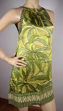 HALE BOB Geometric Modern Abstract Green Yellow Psychedelic SILK Tunic Dress