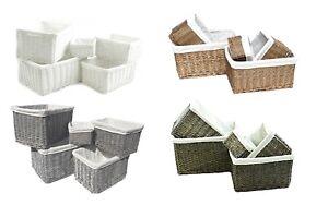 Oak Brown Large Wider Big Deep Wicker Storage Kitchen kids Toy Hamper Basket Box