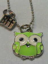 Lime Green Enamel Owl Pendant Necklace BFF