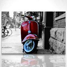 Bild Schwarz Weiß Roller Vespa in Rot Leinwand Bilder Wandbild Kunstdruck D0123