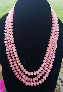 Faceted Peruvian Pink Opal Beaded Necklace, Rhodium Slide Clasp