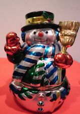 "Musical Wind Up Snowman<>Revolving Skaters Inside<>""Deck the Halls"""