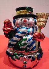 "Musical Wind Up Snowman  Revolving Skaters Inside  ""Deck the Halls"""