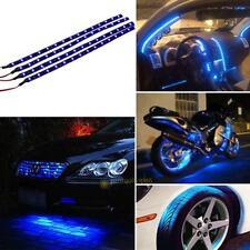 4Pcs Blue 30cm 15 LED Car Motors Truck Waterproof Flexible Strip Light Cool Lamp