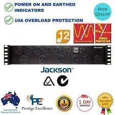 "Rack Mount Power Board Jackson 19"" 2 RU 12 Way Rail Surge Protector Protection"