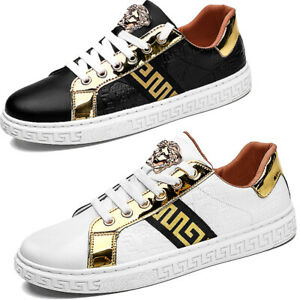 Men's Trainers Casual White Sneakers Heels Flat Running Shoes Black [UK7 8 9.5]