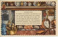 VINTAGE SPINNING WHEEL DISTAFF FIREPLACE CORN COBS JOHNNYCAKE RECIPE ART PRINT