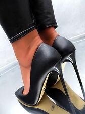 Neu SCHWARZ HOHE Stiletto Pumps Elegant Classic Damen W63 Schuhe High Heels 39