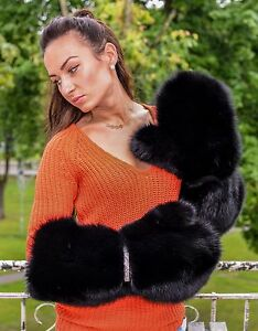 Real Black Fox Fur Massive Ladies Mittens Gloves