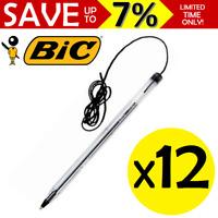 NEW 12x Bic Cristal Ball Point Pen Medium 1.0mm BLACK NIB Corded String 10247