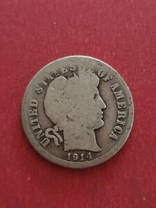 1914 Barber SILVER One Dime USA