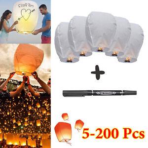 5-20PCS Chinese Lanterns Paper White DIY Wish Lamp Candle Romantic Wedding Party
