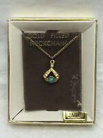 Vintage Metal Chain necklace with Jade pendant