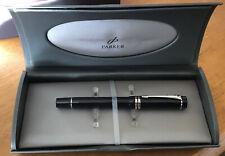 Parker Duofold MkII  International Black Silver Trim Fountain Pen Medium Nib