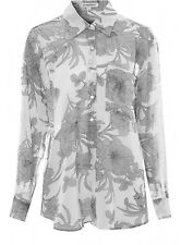 Glamorous White And Grey Floral Print Boyfriend Shirt Size XS (UK 8) Box42 51 C