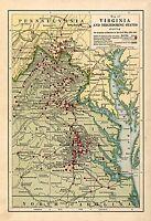 "1861-1865 Civil War Battles, MAP, antique, VIRGINIA, 24""x16""  Historic Military"
