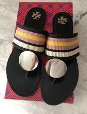 TORY BURCH Patos Disk Sandals in Woven Black Orange White sz 9 Flats Shoes EUC❤️