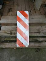 Hazard Object Marker Authentic Retired Road Sign Board Orange And White Metal