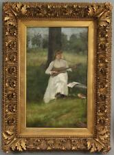Antique THEODORE ROBINSON American Impressionist Portrait Painting Woman Guitar
