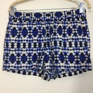 J Crew Shorts Size 6 Blue Geometric Stretch Waist Comfort Lounge Pockets Linen