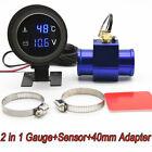 2in 1 Digital Auto Car Water Temperature Meter Voltmeter Gauge With 40mm Adapter