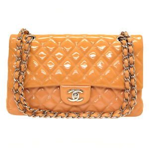 Auth CHANEL Quilted Matelasse Double flap Chain Shoulder Bag Patent U2611PHGA5