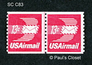 US SC C83 WINGED AIR MAIL ENV COIL VERTICL JOINT LINE PAIR 13¢ MNH OG 1973 VFINE