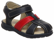 Boys Shoes Grosby Luke Navy/Red Leather Upper Sandals Size 4-12 New Hook & Loop