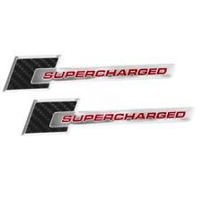 2010 2013 Cadillac Cts V Carbon Fiber Red Amp Chrome Supercharged Emblems Pair