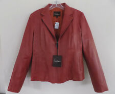 NWT Cole Haan jacket 14 Leather $695 Zip Red brown Lambskin Terracotta Cayenne