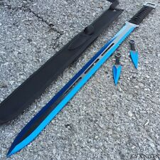 "27"" Ninja Sword Machete BLUE Full Tang Tactical Blade Katana Throwing Knives -m"