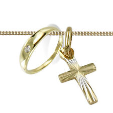 Taufe Set Baby Taufring mit weißem Zirkonia und Kreuz Anhänger Echt Gold 333 Neu