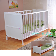 Wooden Baby Cot Bed & Deluxe Water Repellent Mattress ✔ Converts to Junior Bed