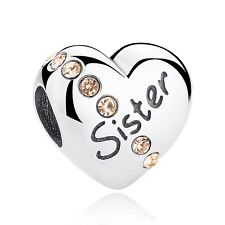 Sister Charm Love Heart Bead Genuine Sterling Silver 925 Family Best Sister NEW
