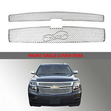 CHROME For Chevy Tahoe Suburban 2015 2016 2017 Grille Overlays Grill Covers trim